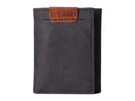 NEW STEVE MADDEN MEN'S PREMIUM LEATHER TRIFOLD ID WALLET BLACK N80008/08