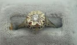 14K Gold .13ct Genuine Natural Diamond Filigree Ring (#J809) - $395.00
