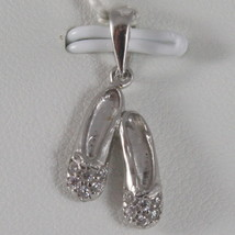 SOLID 18K WHITE GOLD SHOES DANCER DANCING PENDANT WITH ZIRCONIA, MADE IN ITALY image 1