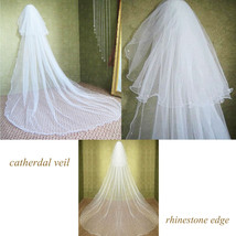 2 Tiers 3m Long White/Ivory Rhinestone Crystal Soft Tulle Wedding Bridal... - $7.35+