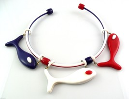 BIG Vintage 1980s Handmade Patriotic Red White & Blue Plastic Fish NECKLACE - $75.96