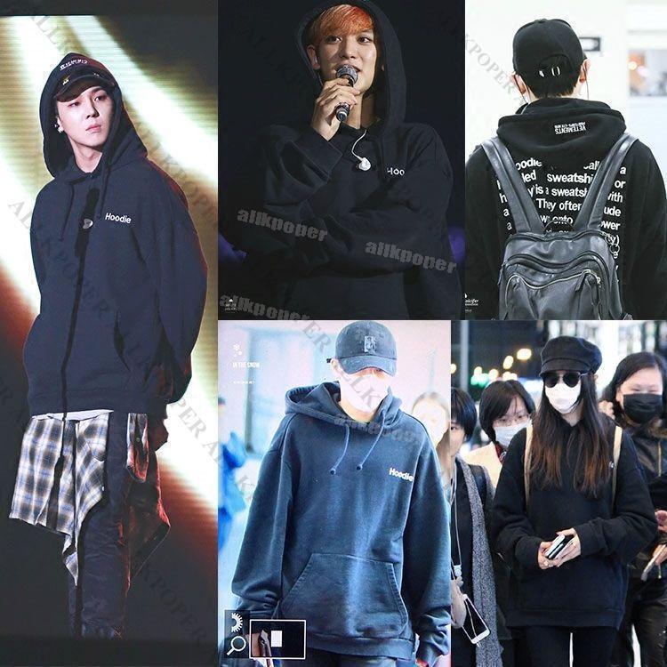 Kpop EXO Chanyeol Embroidery Sweatershirt Bigbang G-Dragon Cap Hoodie Sweater