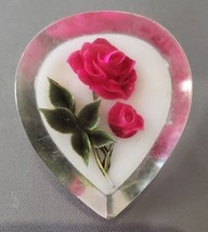 Vintage Carved Under Lucite Roses Flowers Floral Brooch Pin - $11.99