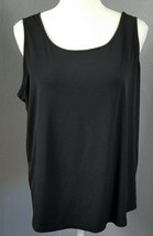 5083b7e6b81c27 Chico's Size 3 XL Solid Black Tank Top Stretch Shirt Sleeveless Cami