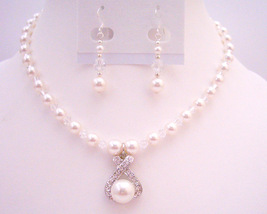 Pure Whie Pearls Jewelry w/ Clear Crystals Drop Down Pendant Set - $36.78
