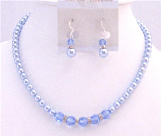 Sapphire Crystals Blue Pearls Necklace Set Beautiful Gorgeous Jewelry Fashion Jewelry For Everyone Collections