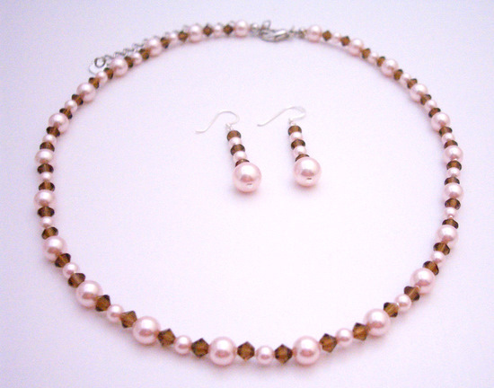 Handcrafted Swarovski Rose Pink Pearls Smoked Topaz Crystals Necklace Fashion Jewelry For Everyone Collections