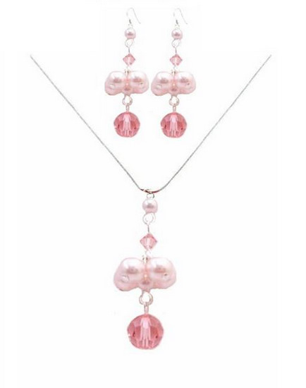 Handmade Jewelry Swarovski Rose Crystals Pink Pearls Necklace Set Fashion Jewelry For Everyone Collections