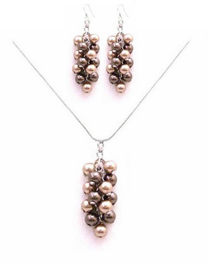 Perfect Prom Jewelry Brown Bronze Pearls Swarovski Pearls Necklace Set Fashion Jewelry For Everyone Collections