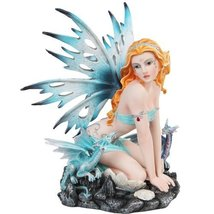 Blue Ice Fairy Sitting with Baby Dragons Mystical Statue Figurine - $71.28
