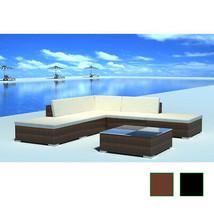Patio Outdoor Lounge Seat Set 15 pcs Poly Rattan Wicker Garden Brown/Black - $444.99