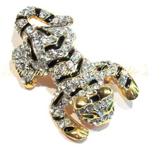 Tiger Cat Pin Brooch Clear Crystal Black Enamel Cat Green Eyes Gold Tone... - $24.99