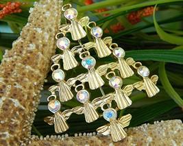 Vintage JJ Jonette Angels Christmas Tree Brooch Pin AB Rhinestones - $14.95