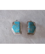 Southwest sterling turquoise chunky clip earrings - $20.00