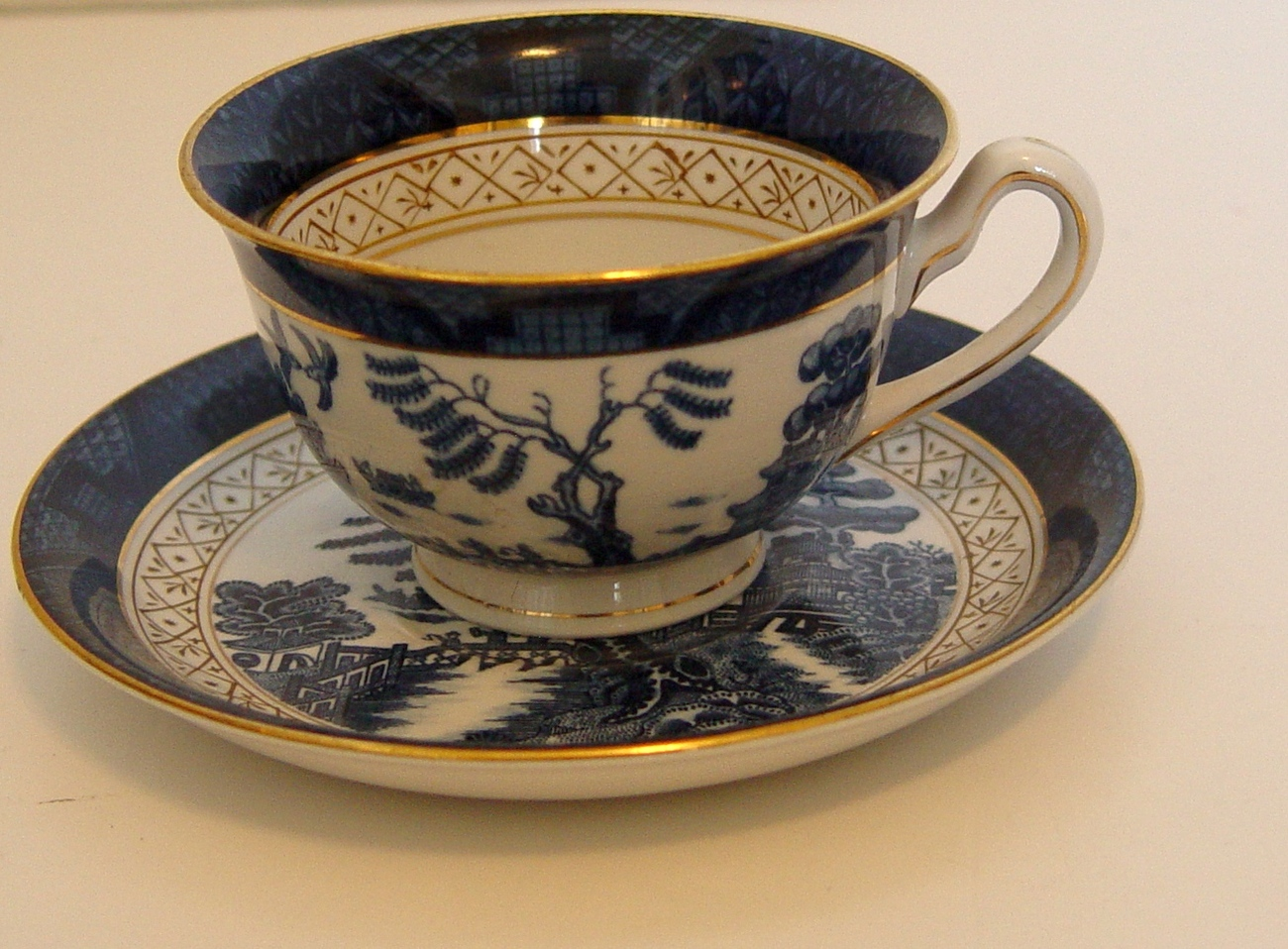 Made In Occupied Japan, Cup And Saucer, Demi Tasse, Blue Willow Variant