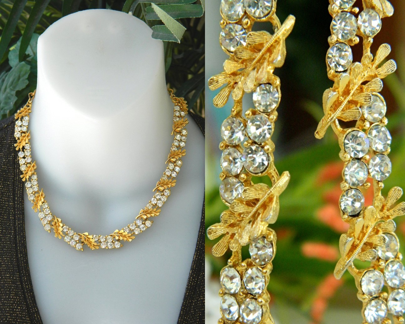 Vintage bsk necklace rhinestone leaf leaves linked choker gold