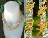 Vintage bsk necklace rhinestone leaf leaves linked choker gold thumb155 crop