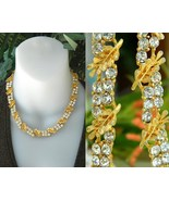Vintage BSK Necklace Rhinestone Leaf Leaves Linked Choker - $44.95