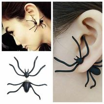 Women Halloween Black Spider Charm Ear Stud Earrings - One Pair image 3