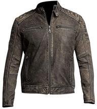 Iron Head Distressed Men's Vintage Café Racer Leather Jacket image 1