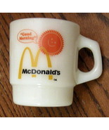 Fire King Coffee Mug Good Morning McDonalds Stackable Milk Glass Tea Cup... - $19.75
