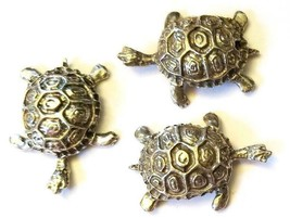 TURTLE FIGURINE CAST WITH FINE PEWTER - Approx. 1 1/4 inches Long (T151) image 2