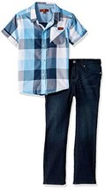 7 For All Mankind Kids Boys' Toddler Blue Check Sport Shirt and Denim Sh... - $70.54