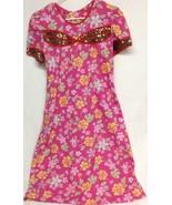 Hawaiian Handmade Mu Mu House Dress Pink Floral P - $9.41