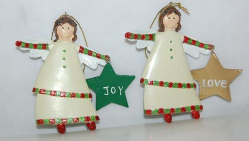 Dicksons CHO-521 Set Of Two Angel Ornaments Joy Love