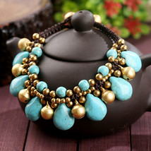 Thai stone copper bell charms waxed cotton braided copper beads crochet ... - $12.90