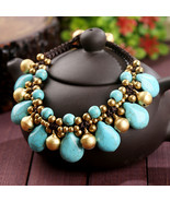 Thai stone copper bell charms waxed cotton braided copper beads crochet ... - €11,38 EUR