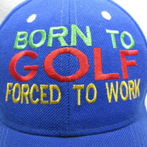 Born to Golf Cap Baseball Forced Work Vents Blue Embroidered Hat image 2