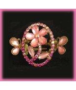 Petite Hair Clamp Pink Rose Floral Swarovski Crystals New - $22.99