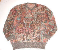 Vtg Missoni Vegas Hotel Casino Gambler Multi Color Mens  V Neck Sweater ... - $140.24