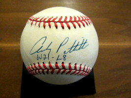 ANDY PETTITTE W21-L8 1996 WSC YANKEES SIGNED AUTO VINTAGE OAL BASEBALL T... - $197.99