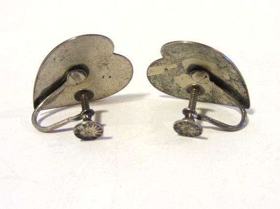 Vintage Beau sterling silver Heart Screw back earrings