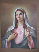 "Catholic Print Picture Immaculate Heart Of Mary By La Fuente 12 1/2 X 16"" - $15.88"