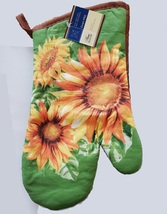 Sunflower Kitchen Linens Set, 9pc, Placemats Towels Potholders Mitt Yellow Green image 3
