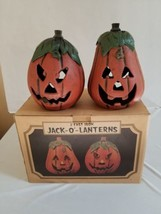 2 SWC Cast Iron Halloween Pumpkin Candle-Holder Jack-O-Lanterns Metal  - $84.14
