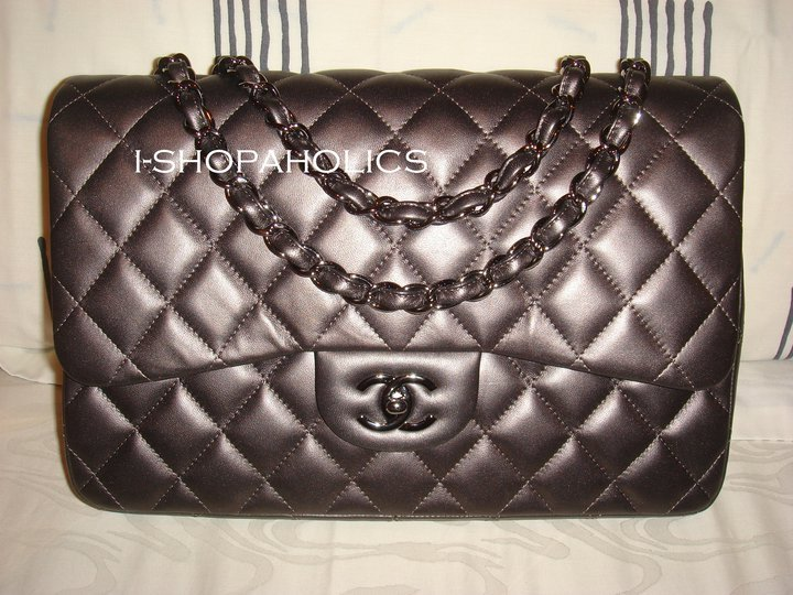 Primary image for CHANEL JUMBO METALLIC DARK GREY 09 w/ Ruthenium Hw