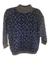 Vintage 80s Benetton Sweater Blue Black White Shetland Wool Chunky Knit ... - $58.20