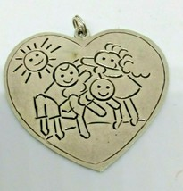 Vintage Sterling Silver Heart Pendant with Children Playing - $54.96