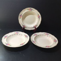 3 Rimmed Soup Bowl  Homer Laughlin Eggshell Georgian Gold Trim Flowers Scalloped - $19.34