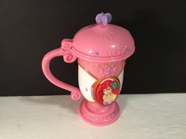 "Hard Plastic Disney Little Mermaid Flip Top Cup Pink 6"" tall Ariel - $11.30"