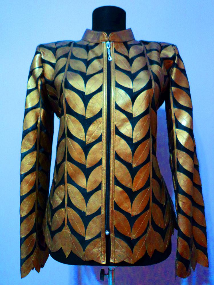 Plus Size White Leather Leaf Jacket Women All Colors Sizes Genuine Zip Short D4