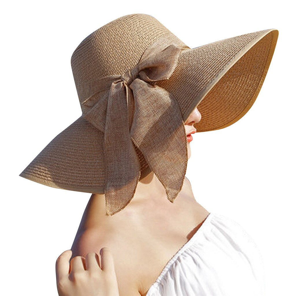 CHAMSGEND Women Big Brim Straw Hat Sun Floppy Wide Brim Hats New Bowknot Folding image 2