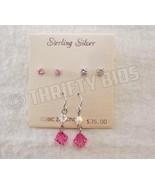 Sterling Silver Cubic Zirconia CZ Dangle & Stud Earrings 3 Pair Pink & C... - $10.88