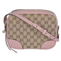 NEW Gucci Beige Pink GG Guccissima Leather Bree Crossbody Camera Shoulde... - $828.93