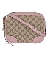 NEW Gucci Beige Pink GG Guccissima Leather Bree Crossbody Camera Shoulde... - $828.93