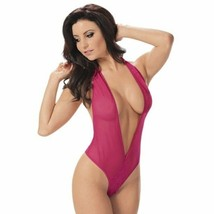 DEEP FRONT PLUNGING HEART BACK BODYSUIT TEDDY LINGERIE - $18.80